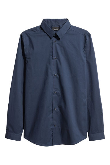 Premium cotton shirt - Dark blue -  | H&M